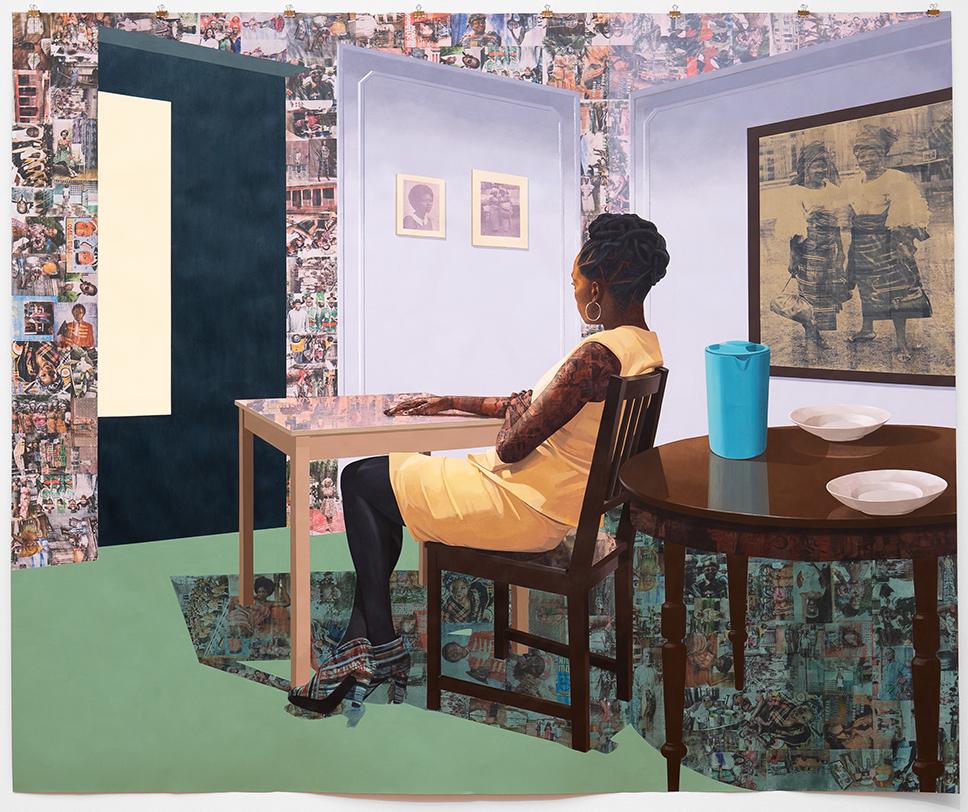 Njideka Akunyili Crosby: 'In the Lavender Room', 2019. Courtesy kunstneren, Victoria Miro og David Zwirner. Foto: Joakim Züger.