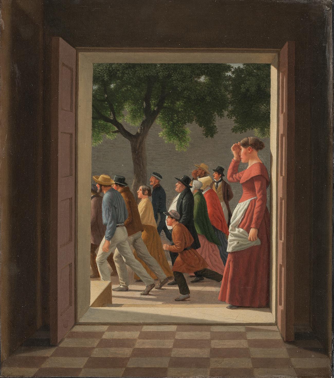 """C.W. Eckersberg: """"Udsigt gennem en Dør til løbende Figurer"""", 1845, SMK."""
