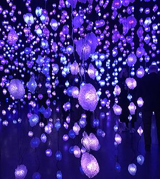 Pixelskoven med tusindvis af lamper som skifter farver og intensitet (Foto: Ole Schwander).